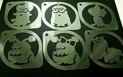 M2 Set of 6pcs Minions Despicable Me Airbrush Stencil Coffee Face Body Paint