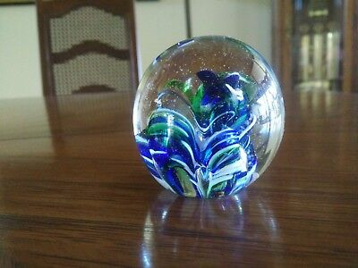 Vintage Art Glass Paperwight Hand Blown in Blue, White and Green, Preowned