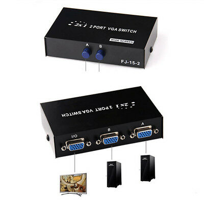 1 Monitor to 2/4 PC 2/4 Port VGA/SVGA Manual Sharing Switch Switcher Box EU