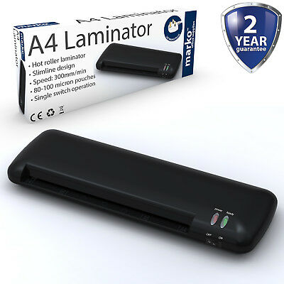 A4 A5 Laminator Hot Thermal Roller Laminating Machine Home Office Slimline Black