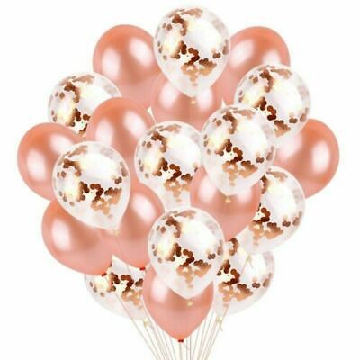 New 20PCS Rose Gold Confetti Latex Balloons Set Hen Party Birthday Wedding 12""