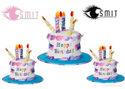 HAPPY BIRTHDAY HAT With Candles Cake Fun Party Unisex Fancy Dress