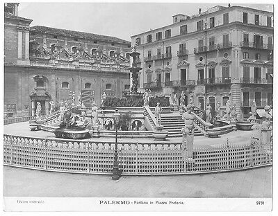 Original Vintage 1930s photo print Palermo Fontana in piazza Pretorio