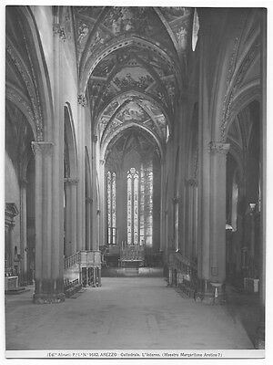 Original Vintage 1930s Alinari  9682 photo print Arezzo Cathedral interior view