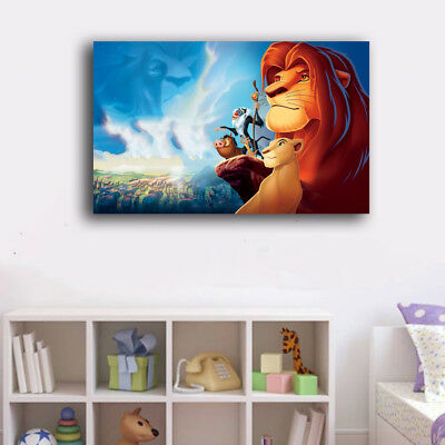 FRAMED CANVAS PRINTS Stretched Lion King New Wall Art Home Decor Painting Gift