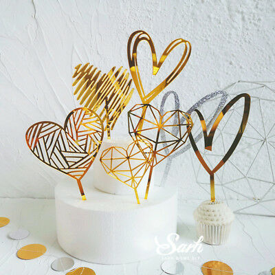 Gold Silver Acrylic Heart Collection Cake Topper