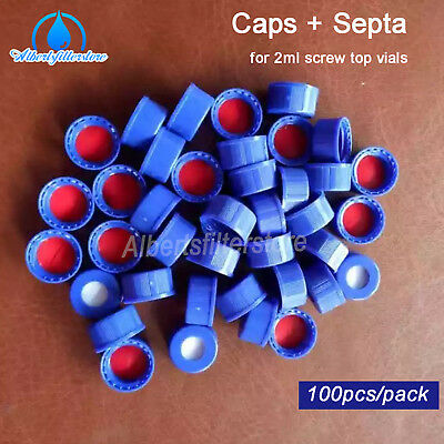 100pcs Blue Screw Cap +Red PTFE/White Silicone Septa With Hole For 2ml Lab Vials