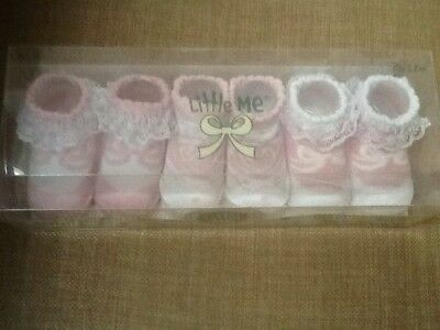 Little Me (3) Pairs of Girls Decorative Baby Socks/Booties 0-12 Months