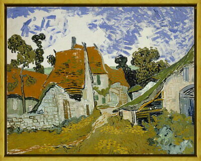Framed Vincent van Gogh Street in Auvers Giclee Canvas Print Paintings Poster