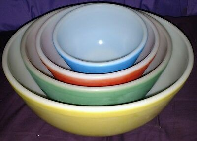 Vintage Pyrex Mixing Bowl Set Primary Nesting Bowls Yellow Green Red Blue Lot