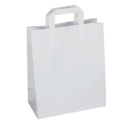 1000 White Medium Kraft Paper Sos Food Carrier Bags With Handles Party Takeaway