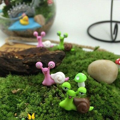 Resin Miniature Snail Garden Ornament Craft Fairy Dollhouse DIY Decor 6pcs/set