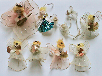10 Vintage Tulle Pressed Cotton Christmas Angel Ornament  Pink White