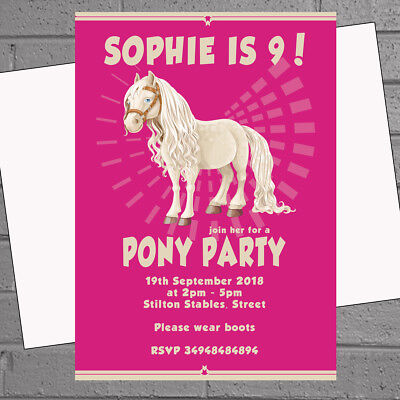 Personalised Horse Party Invites Riding Stables Girls Pony Birthday x12 H1833