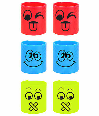 6 Emoji Plastic Springs - Slinky Pinata Toy Loot/Party Bag Fillers Kids Smiley