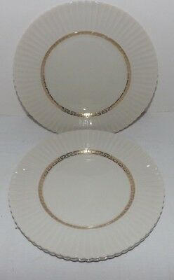 "(Set of 3) Lenox CRETAN Gold Greek Key 8 1/2"" SALAD PLATES (Old GREEN MARK)"