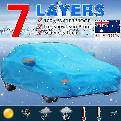 7 Layer PEVA Blue Car Cover Seamless Sun UV Snow Resist Waterproof Outdoor 3XXL