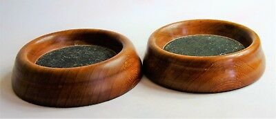 Pair of Hand Turned Wooden Glass / Bottle Coasters
