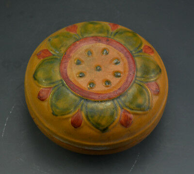 Wonderful Chinese Ancient Yellow Glazed Pottery Sancai Lotus Flower Rouge Box