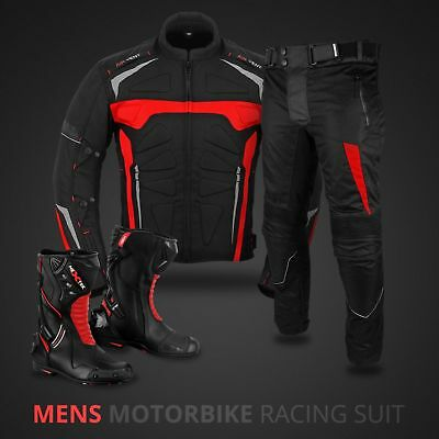 D Apparel Motorbike Motorcycle Cordura suit and Leather Boots CE Protections