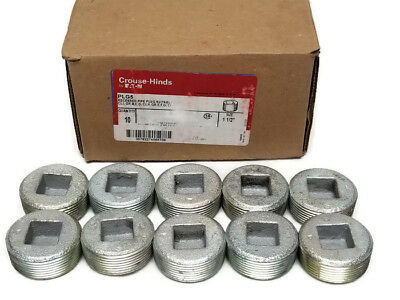 New Box Of 10 Eaton PLG5 Crouse Hinds 1 1/2' Recessed Pipe Plug