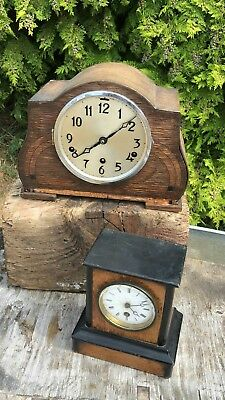 A Pair of Vintage Antique Wooden Mantle Clocks *