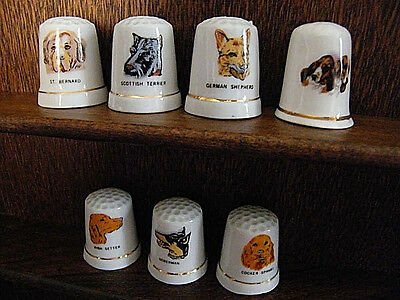 assorted  china/porcelain  Lot of  7  various  dogs  collectible Thimbles
