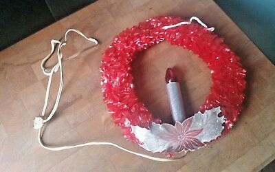 "Red Cellophane Electric Christmas Holiday Window 9-1/2"" Wreath Vintage"
