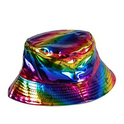 80s 90s Fancy Dress Style Bright Turquoise Holographic Festival Sun Hat