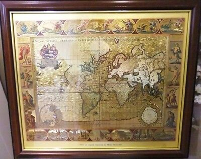 Vintage Gold Foiled Framed Moses Pitt Wall Map Print of Old and New World
