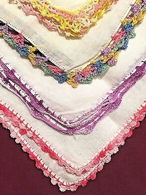 Lot of 14 Crocheted Edge Women's Vintage Handkerchiefs Hankies