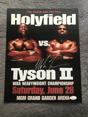 4ce0fb9f30a Mike Tyson Autographed Signed 11x14 Photo Holyfield Boxing Poster Iron JSA  COA