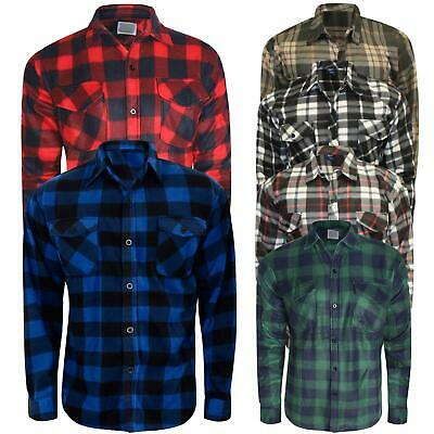 Men Thermal Brushed Fleece Lumberjack Shirt Check Casual Winter Warm Work M-XXXL