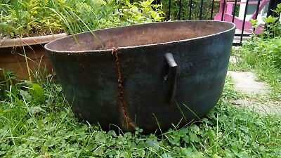 "Large Antique Cast Iron Cauldron Pot, 22"" Across"