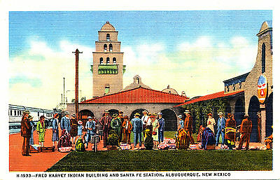 """NM Albuquerque: """"Fred Harvey Indian Bldg & SF Stn"""" Fred Harvey/CT Linen Card"""