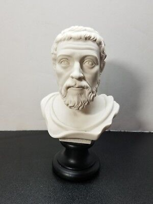 """A. GIANNELLI Alabaster Bust PITAGORA GREEK PHILOSOPHER 2002 Italy-6.5""""H"""