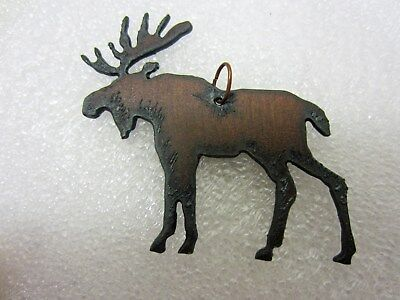 Moose Pendant Rusted Iron with Ribbon Cord NEWFREE SHIPPING
