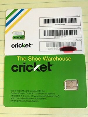 CRICKET WIRELESS REPLACEMENT Nano Sim Card 4G LTE SGMN4004 READY FOR  ACTIVATION