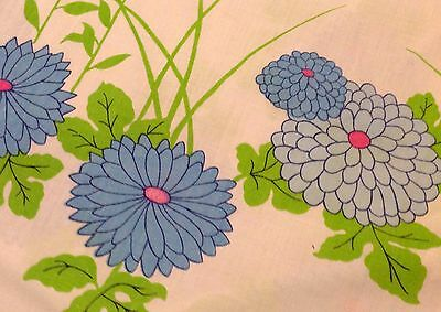 Vintage Martex Hanae Mori KING Flat sheet Zinnias Daisies Bluebird Vibrant Color