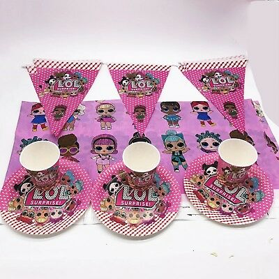 Lol Surprise Dolls  Girls Tableware Plates, Box Tablecover Drawstring Party Bags