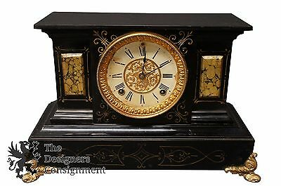 Antique 1880s Ansonia Mantel Clock Marble Slate Gilt Bronze Face Filigree Accent