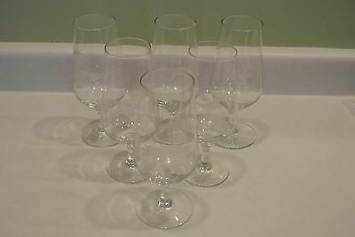 6 Vintage Rowland Ward Crystal Etched Animals Wine Beer Glasses Deer Fox Bird