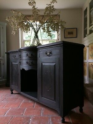Antique Victorian Painted Black Chiffonier Sideboard Server Carved French Style