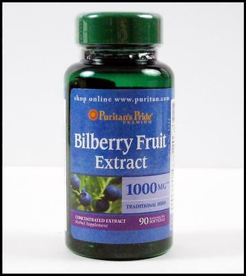 #1 Puritans Pride BILBERRY FRUIT EXTRACT 1000mg Eye Vision Health 90 Soft Gels