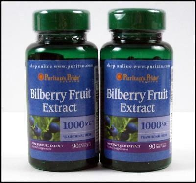 2X 90 Puritans Pride BILBERRY FRUIT EXTRACT 1000mg Eye Vision Health 180 Gels