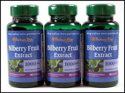 VALUE 3 Puritans Pride BILBERRY FRUIT EXTRACT 1000mg Eye Vision Health 270 Gels