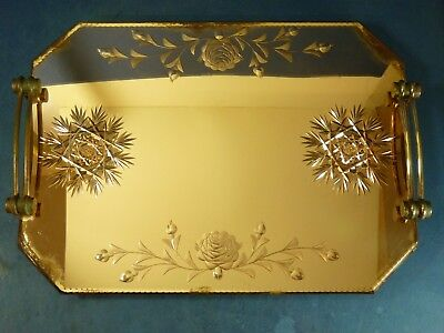 Art Deco Glass Tray With Cut Glass Rose Flower Design Vintage Antique