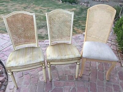 Vintage Dining Cane Back Chairs 3 In Set