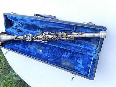 Vintage Easy Play Superior Quality Silver Plated Clarinet 1940's Serial # M-187