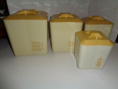 Vintage Plastic Kitchen Canister Set, Lot Of 4 Items, Nesting 1970's Good